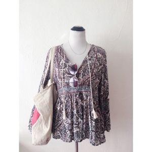 AEO purple paisley long sleeve peplum shirt